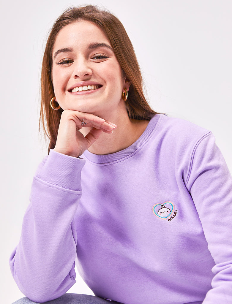 "A cute lavender Molang ""Rainbow Always Wins"" Embroidered Adult Sweatshirt."
