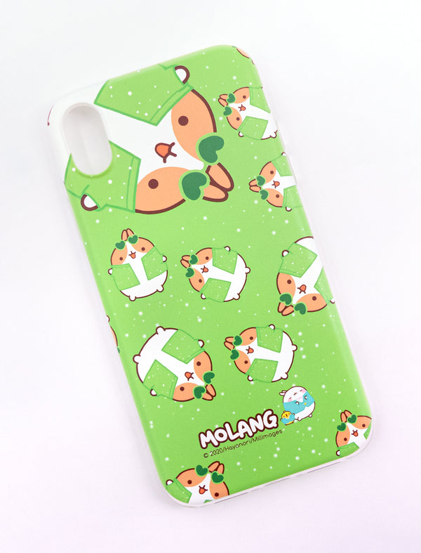 A cute Molang soft phone case green glitter Pincos .