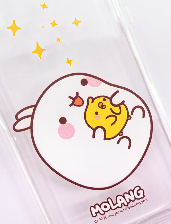 A cute transparent soft phone case Molang and Piu Piu.
