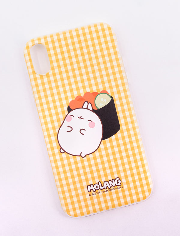 A cute yellow Molang Spring Roll Soft Phone Case.