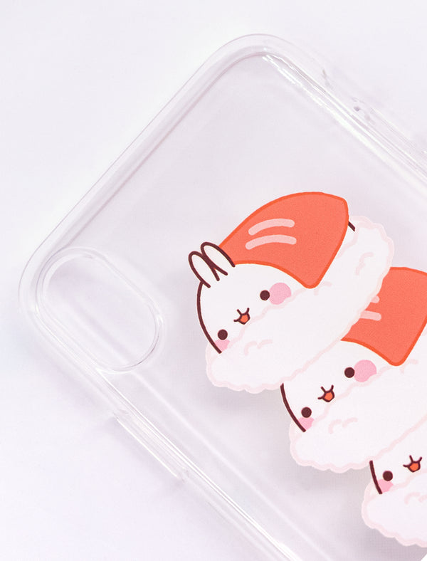 A cute Molang transparent Sushi pile Soft Phone Case.