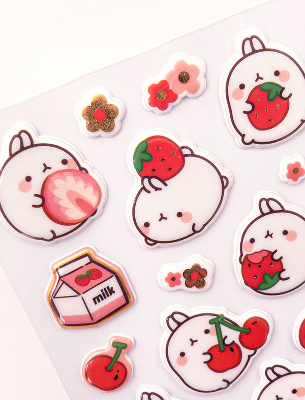 A cute pink Molang stickers board berries.