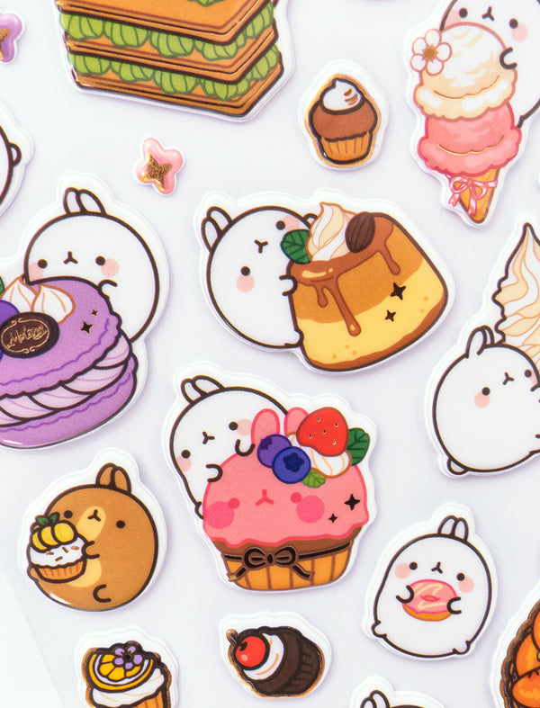 A cute Molang stickers board desserts.