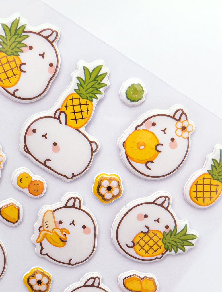 A cute Molang yellow stickers board fruits.