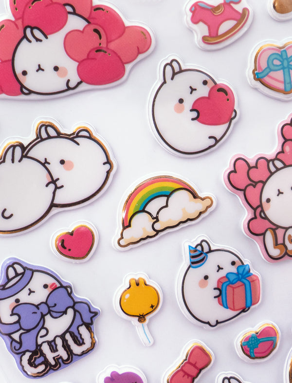 A cute Molang Red  Sweet Love Stickers Board.