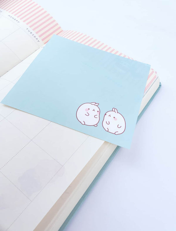 A cute Molang Blue Twins Square Memo Pad.