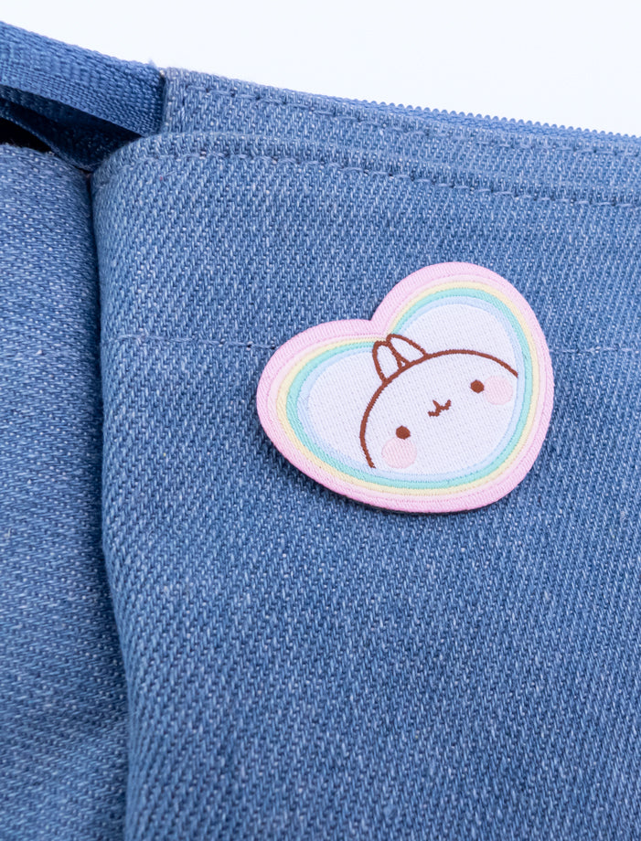 "A cute Molang ""Rainbow Always Wins"" Embroidered Pach Sticker."