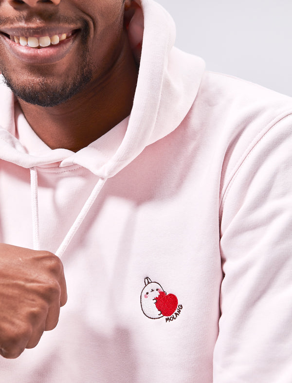 "A cute candy pink adult hoodie Molang ""Yummy"" Embroidered."