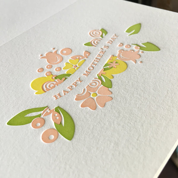 Third color on a letterpress Mother's Day card
