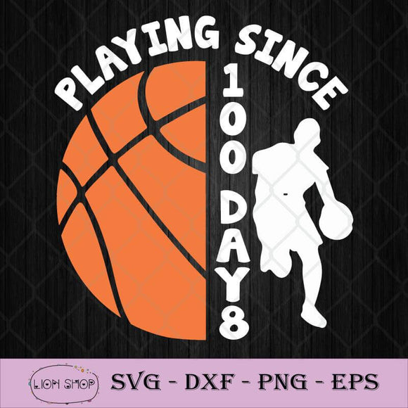 100 Days Of School Playing Basketball Teacher Student SVG PNG DXF EPS-SVGPrints