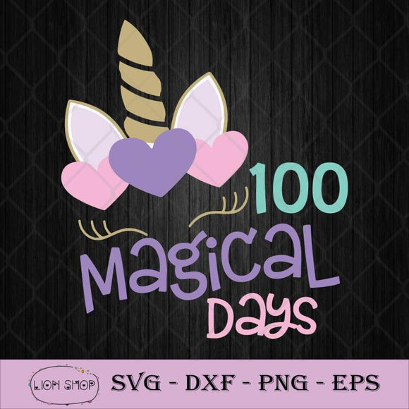 100 Of Magical Days SVG, 100th Day Of Magical SVG, Girl Unicorn SVG PNG-SVGPrints
