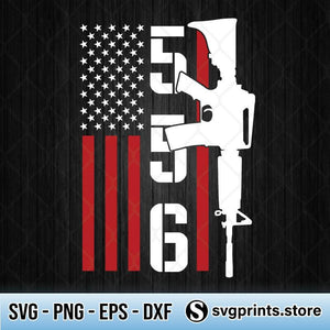 556 AR-15 American Flag SVG PNG Clipart Silhouette DXF EPS-SVGPrints