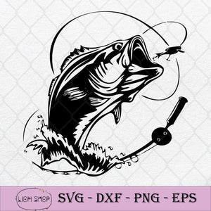 Bass Fishing SVG, Fish Hook Freshwater SVG PNG Silhouette Cricut File DXF EPS-SVGPrints