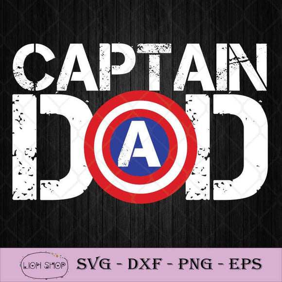 Captain America Dad Happy Father's Day SVG, Captain America SVG PNG-SVGPrints