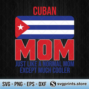 Cuban Mom Cuba Flag SVG, Mother's Day SVG PNG Clipart Silhouette-SVGPrints