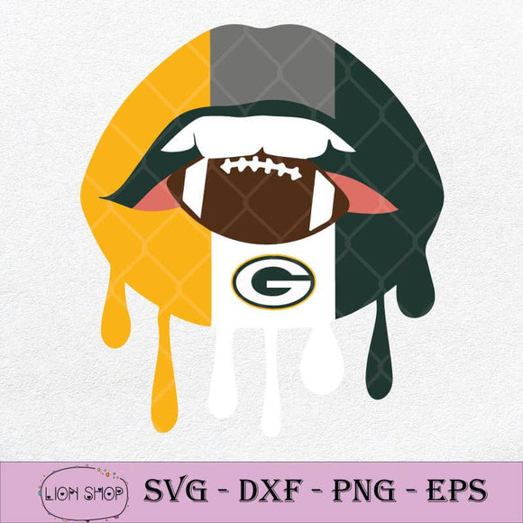 Dripping Lips Football Green Bay Packers SVG-SVGPrints