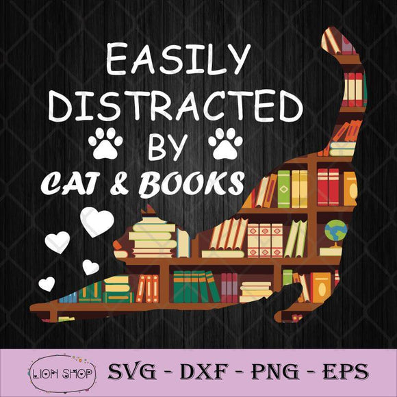 Easily Distracted By Cats and Books SVG-SVGPrints