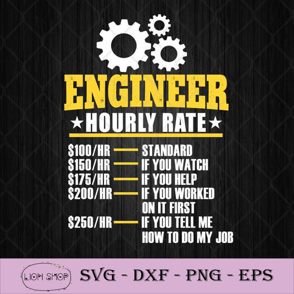 Engineer Hourly Rate SVG, Funny Engineering Gift SVG PNG Clipart Image-SVGPrints