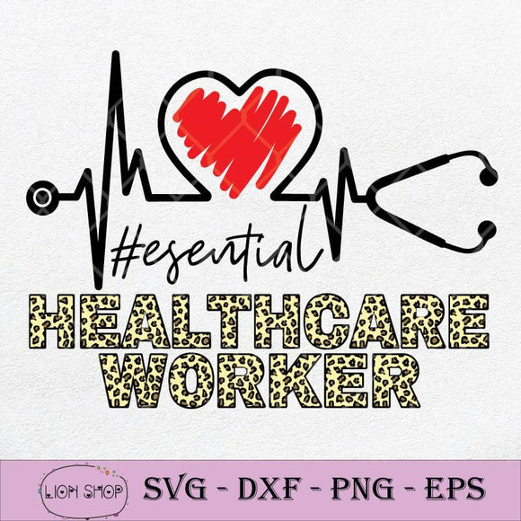 Essential Healthcare Worker SVG, Heartbeat Stethoscope Nurse SVG PNG-SVGPrints