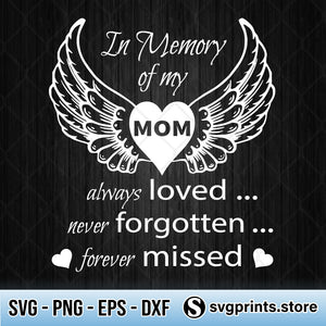 Guardian Angel Mom SVG In Memory Of My Mom SVG PNG Clipart Silhouette-SVGPrints