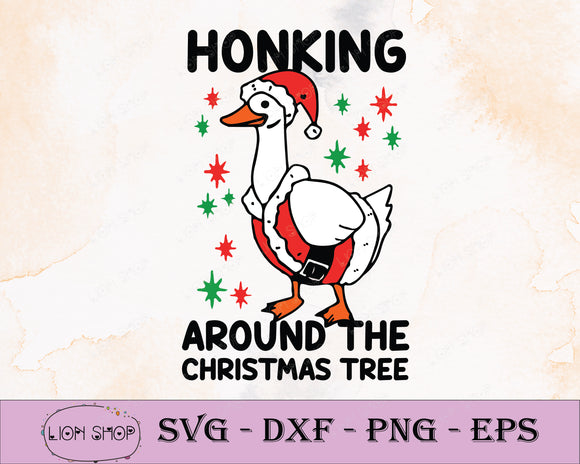 Honking Duck Around The Christmas Tree SVG, PNG, Clipart, Digital Download - SVGPrints