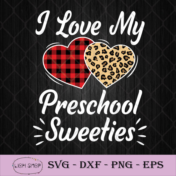 I Love My 1st Grade Sweeties SVG, Heart Leopard Buffalo Plaid SVG PNG-SVGPrints