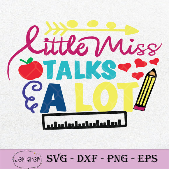 Little Miss Talks a Lot SVG PNG DXF EPS-SVGPrints