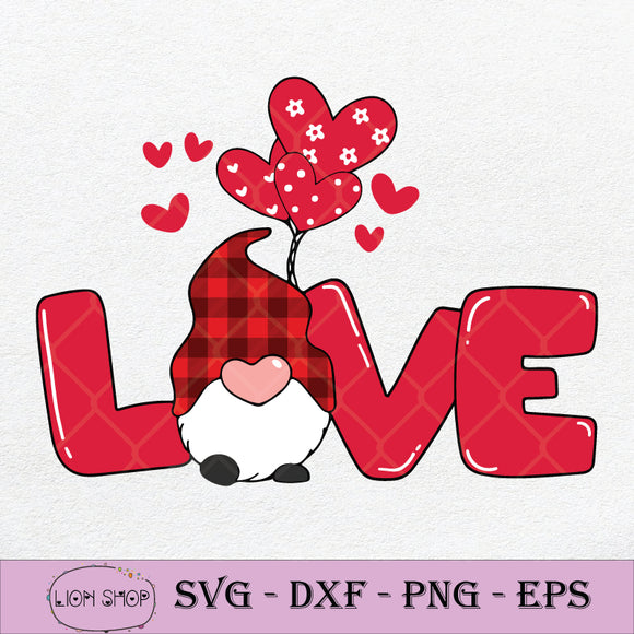 Love With Gnome SVG, Happy Valentine Day SVG PNG Silhouette Clipart-SVGPrints