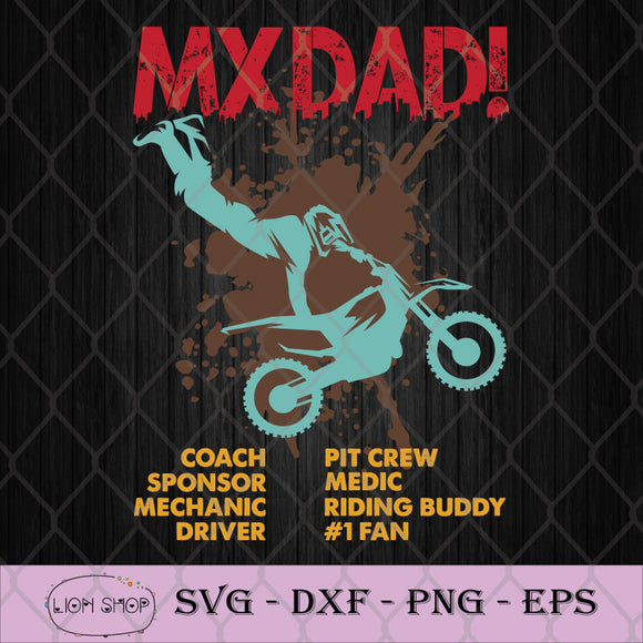 MX Dad Coach Sponsor Mechanic SVG, Motocross SVG-SVGPrints