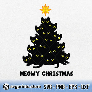 Meowy Christmas Black Cat SVG PNG Clipart Digital Download - SVGPrints