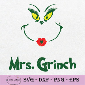 Mrs Grinch SVG Christmas SVG, Merry Christmas Clipart PNG DXF EPS-SVGPrints
