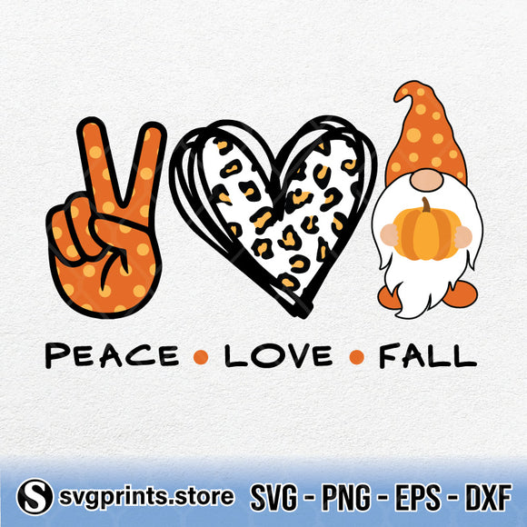 Peace Love Fall SVG Clipart PNG DXF EPS - SVGPrints