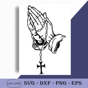 Praying Hands With Rosary SVG, Praying Hands SVG-SVGPrints