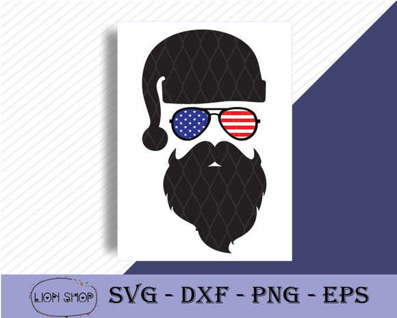 Santa Claus Sunglass Flag USA SVG - Merry Christmas Clipart - SVGPrints