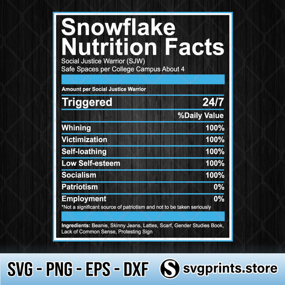 Snowflake Nutrition Facts SVG PNG DXF EPS-SVGPrints