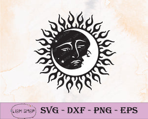 Sun Face SVG,  Moon Face SVG Clipart PNG Digital Download - SVGPrints