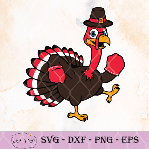 Thanksgiving Kickboxing Gobble Boxer Pilgrim Turkey SVG-SVGPrints