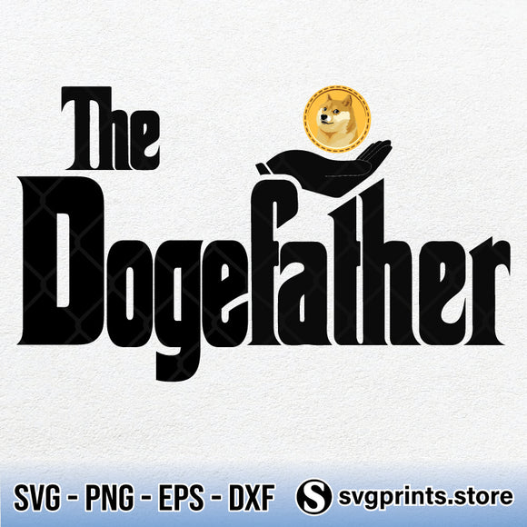 The Dogfather Dogecoin Cryptocurrency SVG PNG DXF EPS