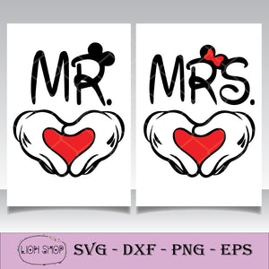 Valentine's Day SVG, Mr & Mrs Mickey Minnie Mouse SVG PNG Silhouette-SVGPrints