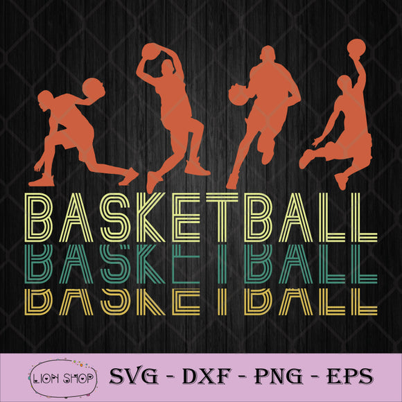 Vintage Basketball Players SVG PNG DXF EPS Silhouette Cricut File-SVGPrints