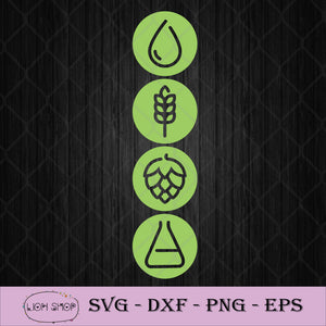 Water Malt Hops And Yeast Beer Ingredients SVG PNG Silhouette Cricut-SVGPrints