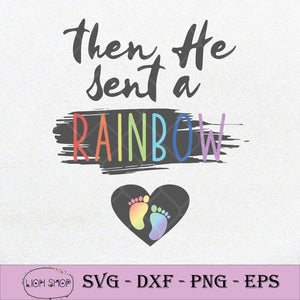 Womens Christian Pregnancy SVG, Then He Sent A Rainbow SVG PNG-SVGPrints
