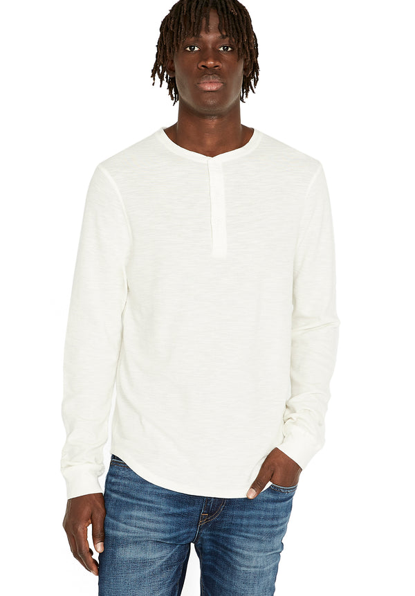 Buffalo David Bitton Kasory Long Sleeve Henley Top - BM23157 COLOR MILK