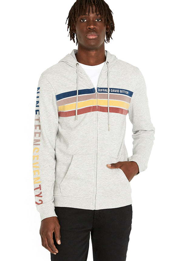 Buffalo David Bitton Fastrip Zip-Up Hoodie - BM23212 COLOR HEATHER GREY
