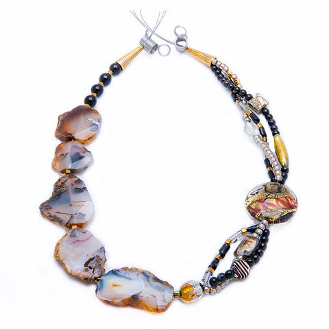 Alke - Black and White Agate Necklace