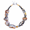Alke - Black and White Agate Necklace Front View