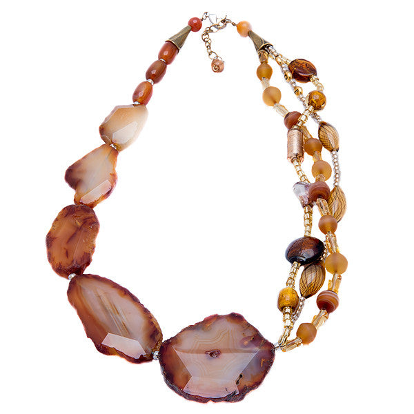 Fortuna - Brown Agate Necklace Full View