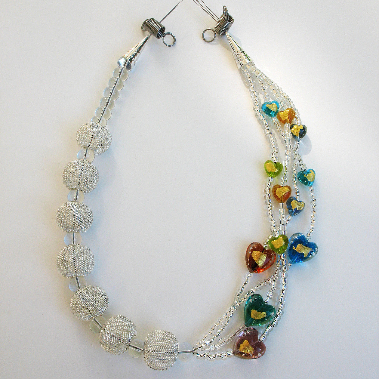 Hestia - Silver Mesh and Murano Heart Necklace