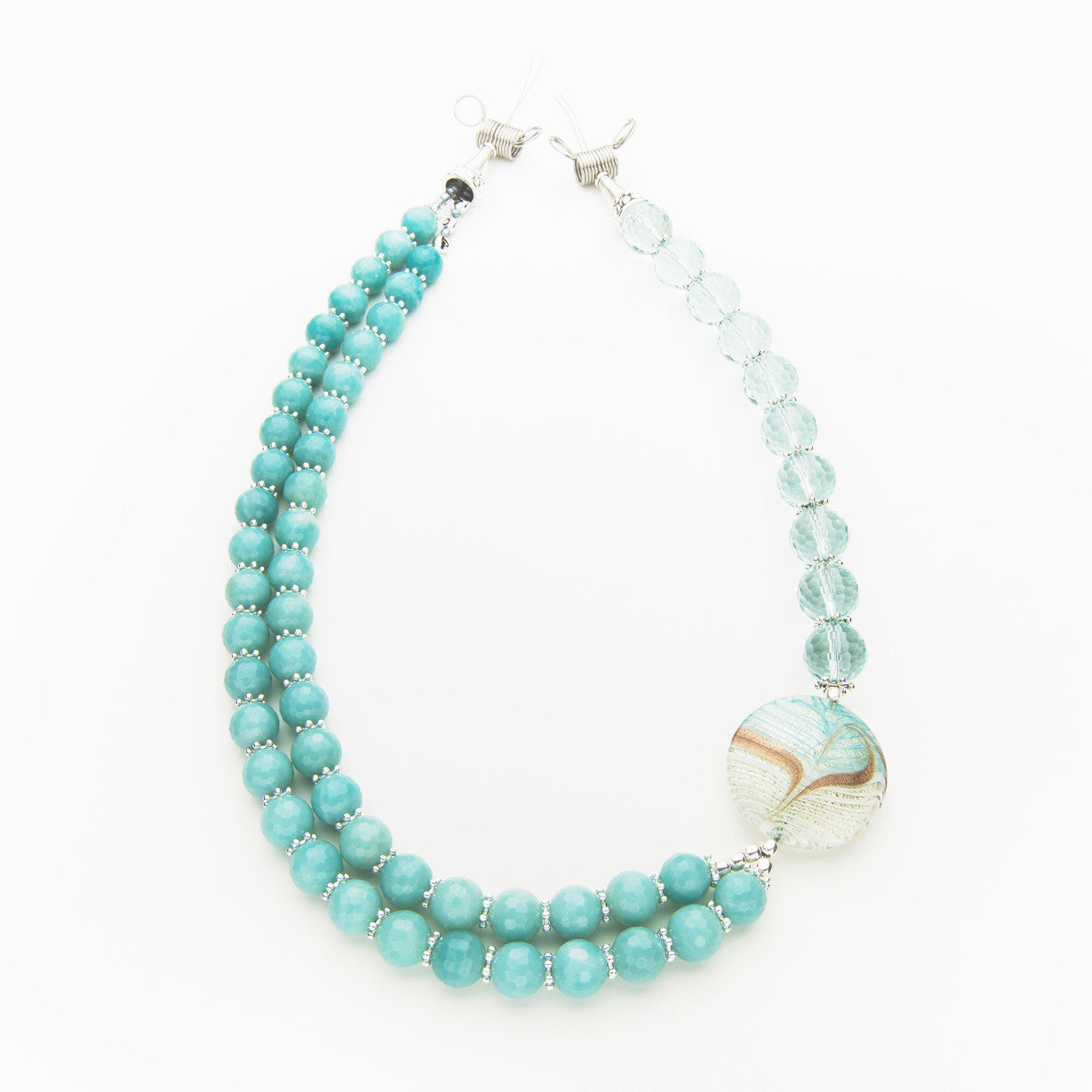 Arete - Amazonite and Blue Crystal Necklace