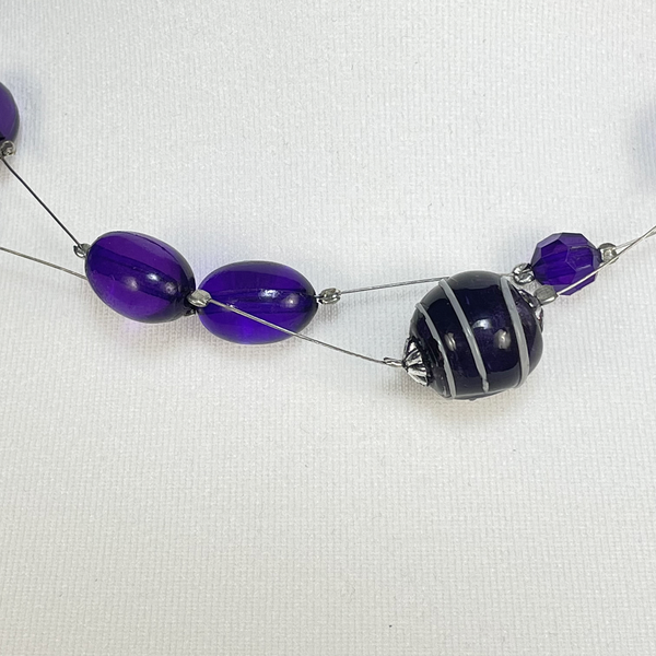 Purple beaded two tiered necklace